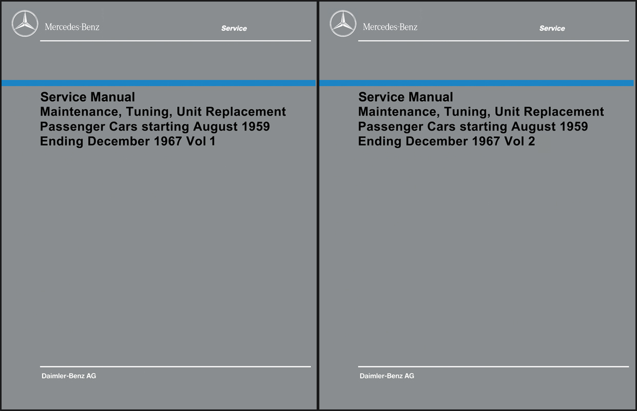 1960-1967 Mercedes Shop Service Manual Maintenance Reprint