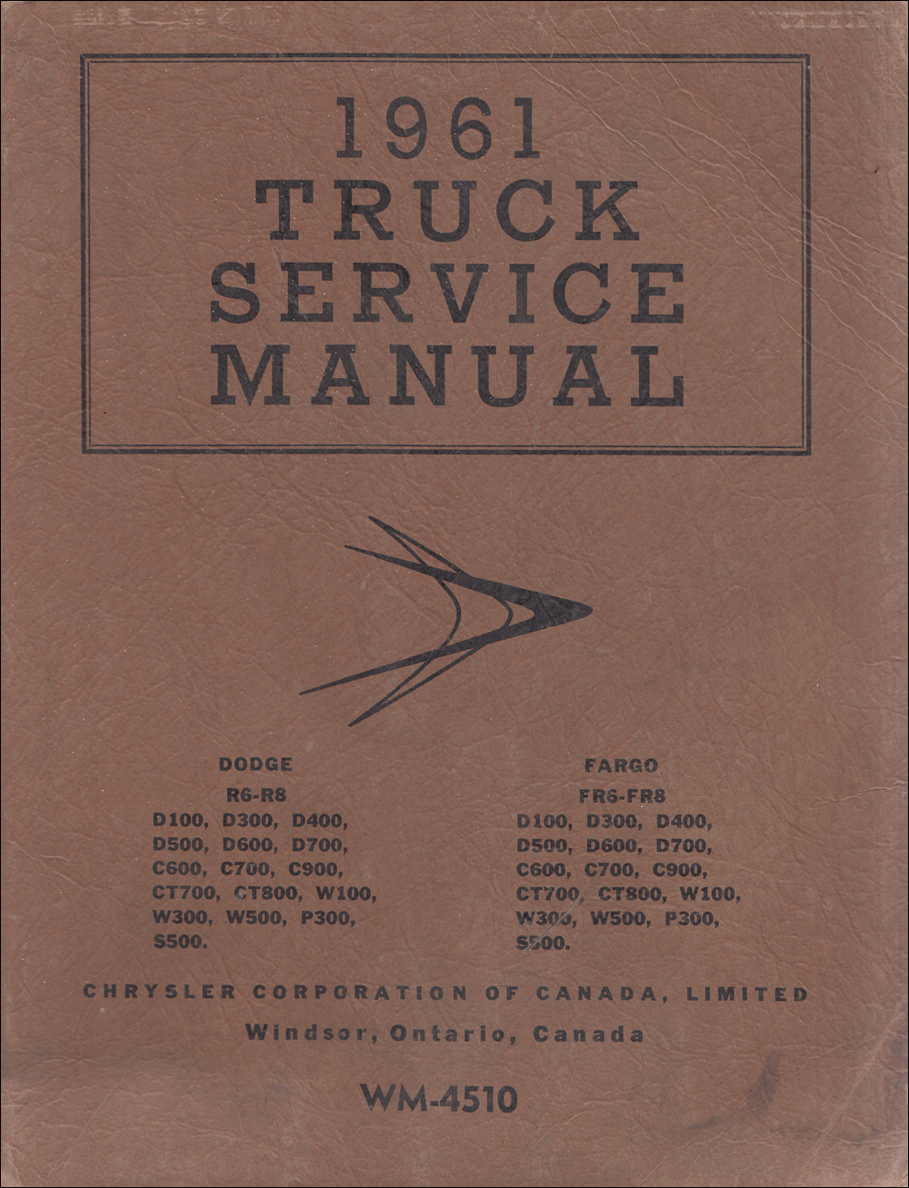 1959 Dodge Truck & Fargo CANADIAN Repair Manual Original Supplement