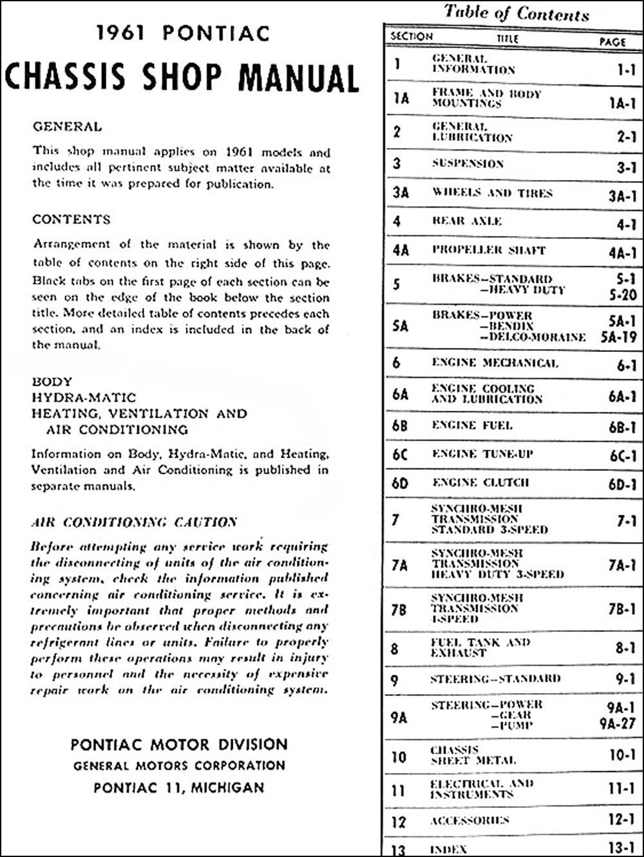 1961 Pontiac Repair Shop Manual Original