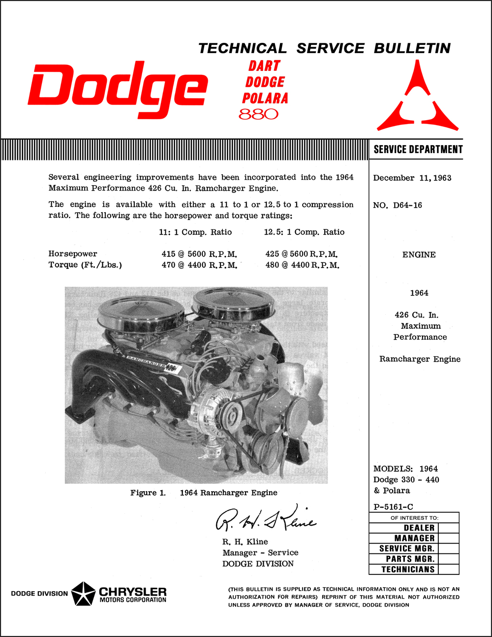 1964 Dodge 426 Ramcharger Repair Shop Manual Supplement Reprint