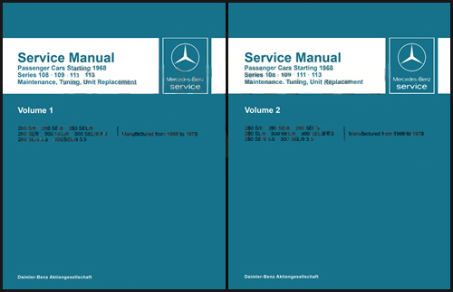 1966-1973 Mercedes 108-109-111-113 Service Manual Reprint