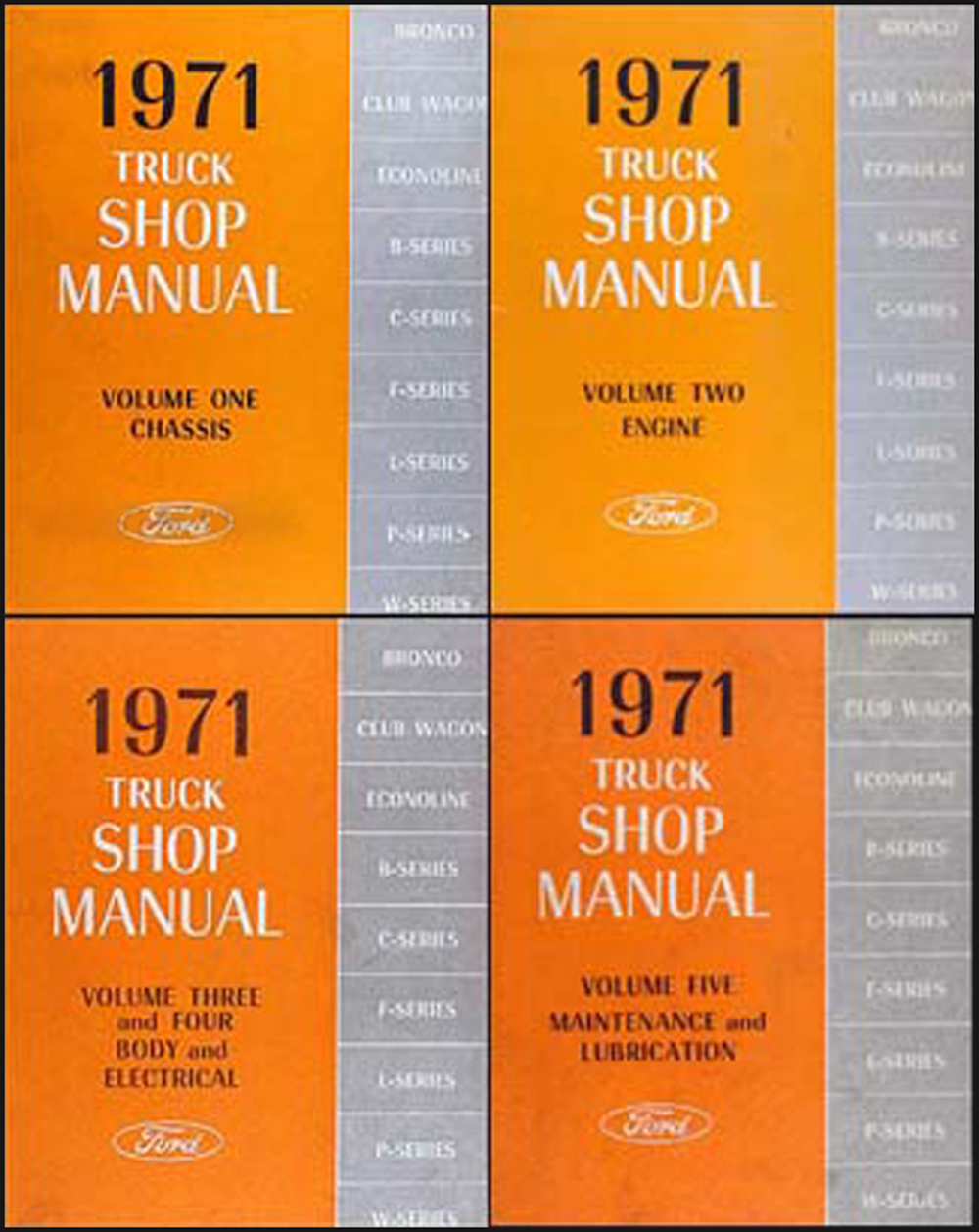 1971 Ford Truck Repair Shop Manual Original 5 Volume Set Pickup Van Bronco Big Trk