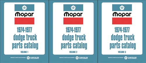 1974-1977 Dodge Truck Parts Catalog Book Reprint Set