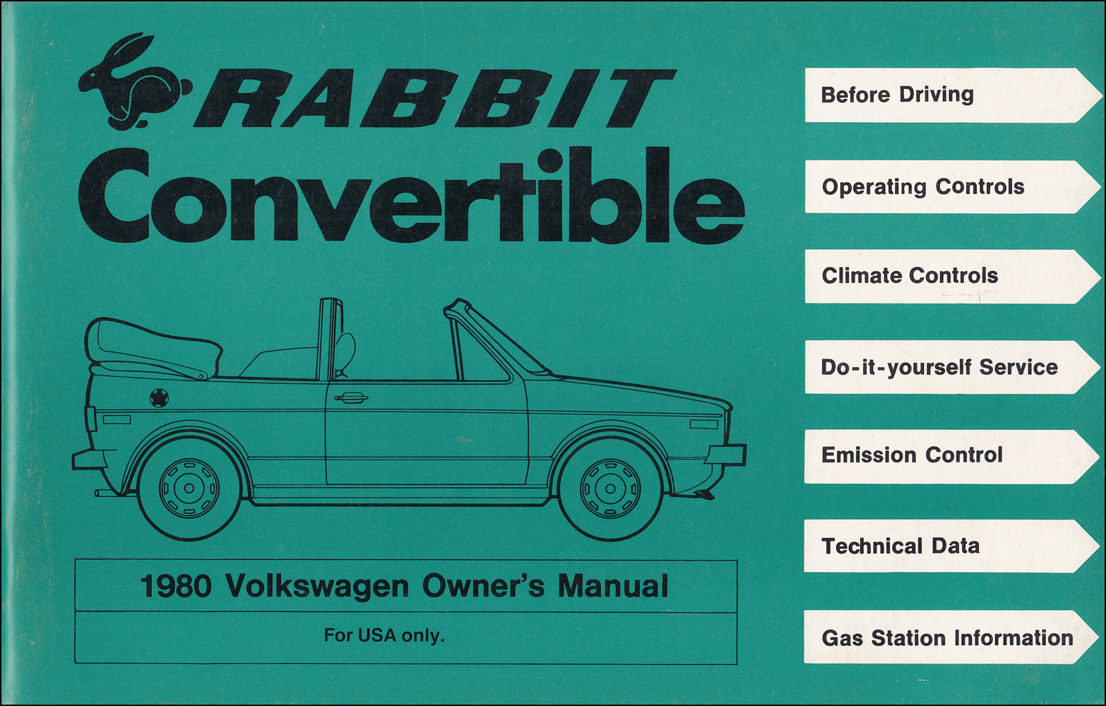 1980 Volkswagen Rabbit Convertible Owner's Manual Original