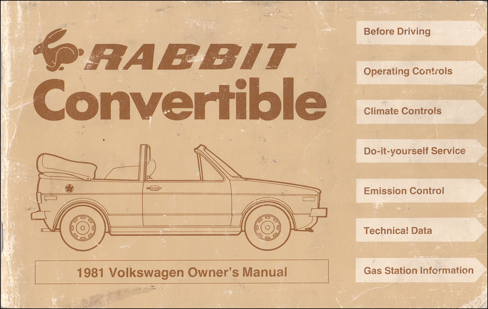 1981 Volkswagen Rabbit Convertible Owner's Manual Original