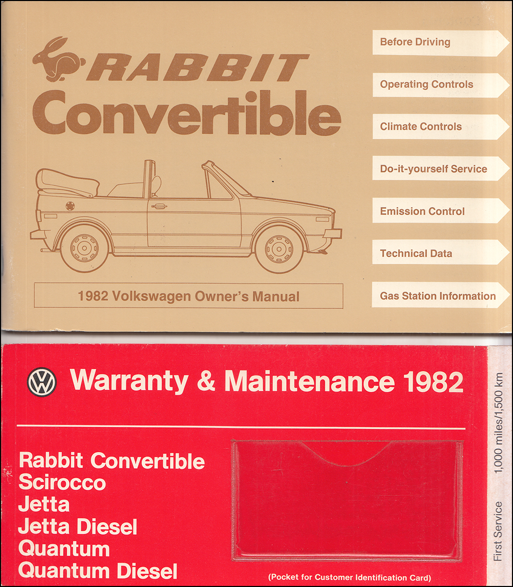1982 Volkswagen Rabbit Convertible Owner's Manual Original