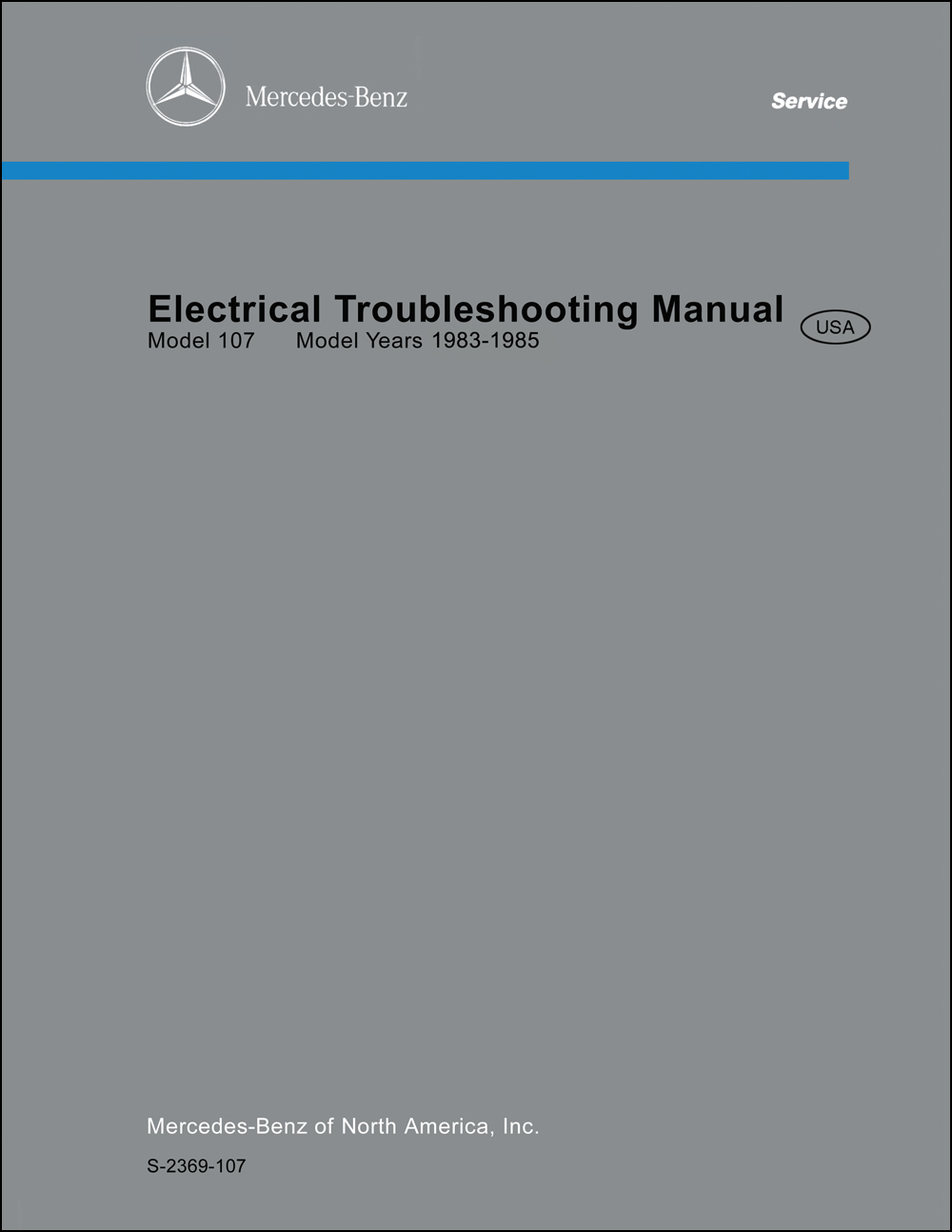 1983-1985 Mercedes 107 380SL Electrical Troubleshooting Manual