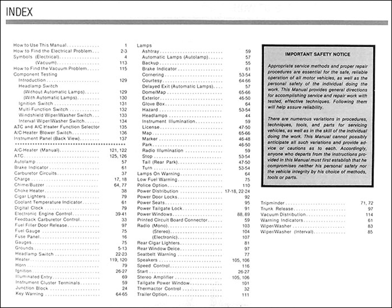 1983 crown victoria grand marquis electrical troubleshooting manual