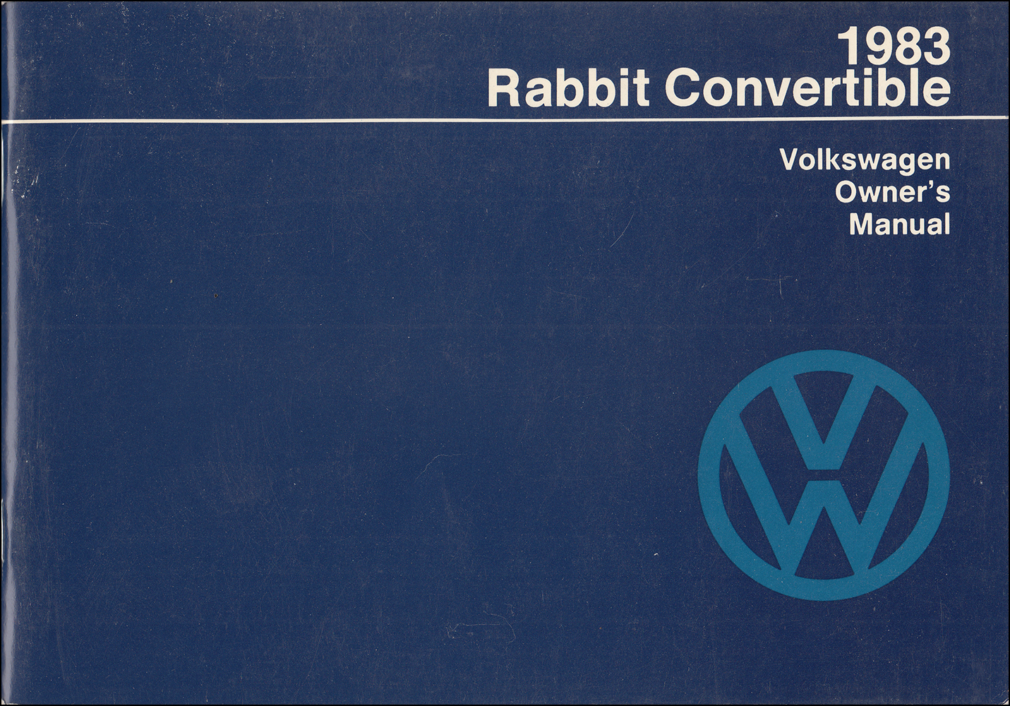 1983 Volkswagen Rabbit Convertible Owner's Manual Original