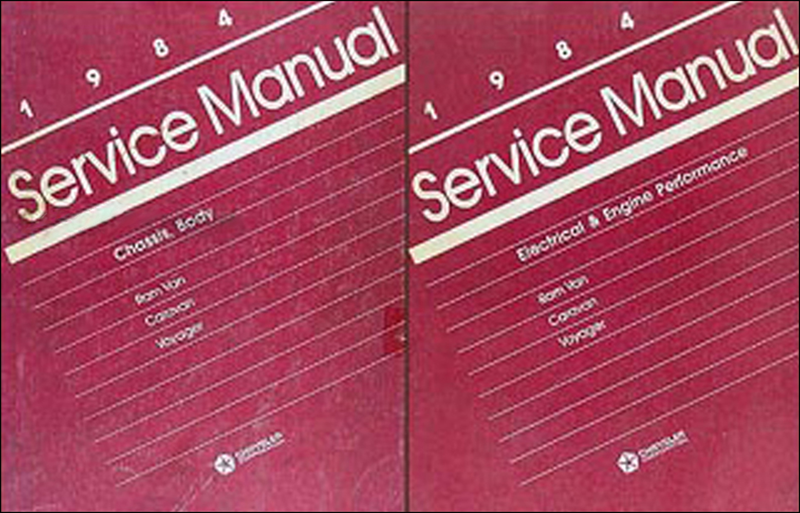 1984 Caravan and Voyager Van Repair Manual Original 2 Volume Set