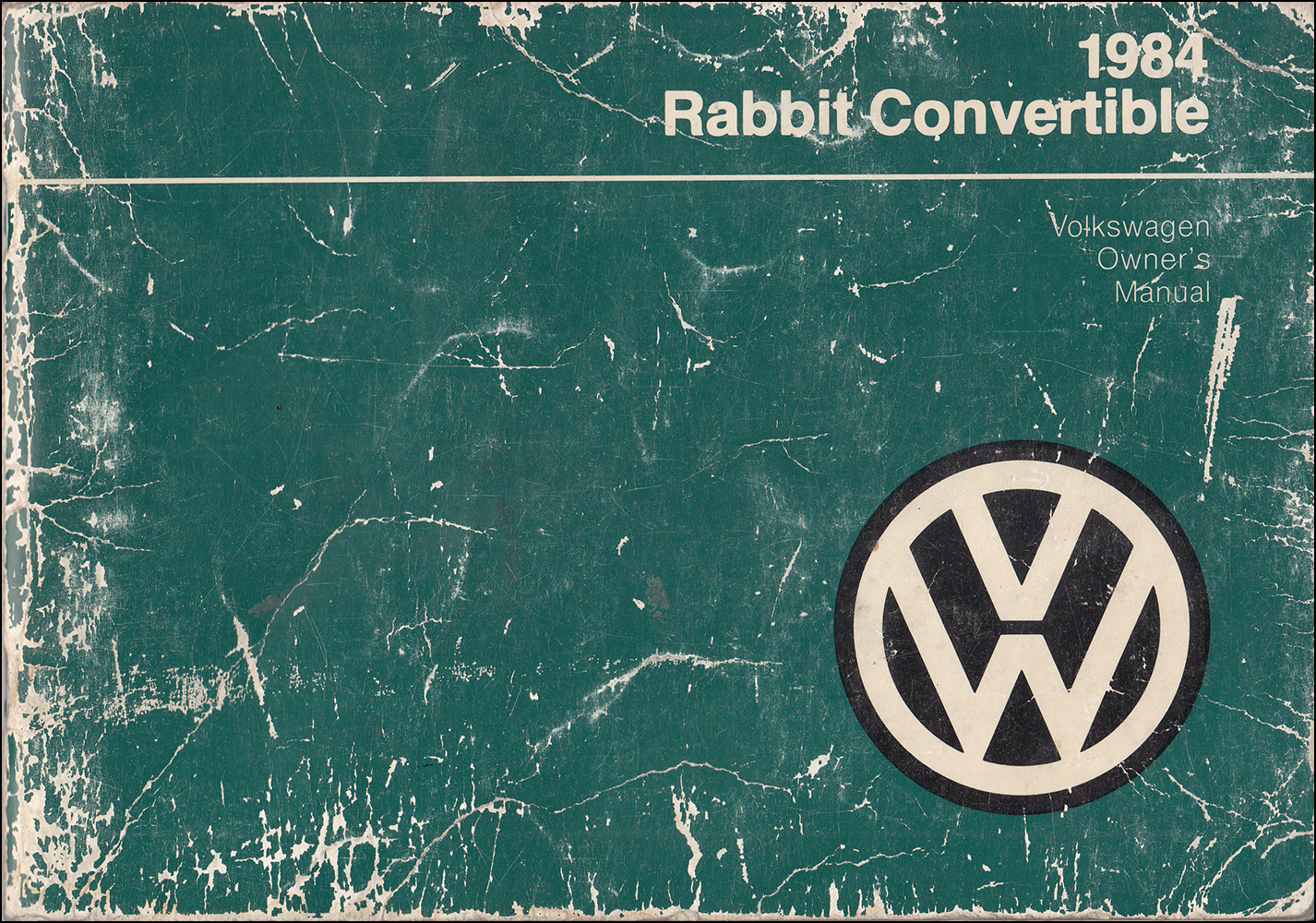 1984 Volkswagen Rabbit Convertible Owner's Manual Original