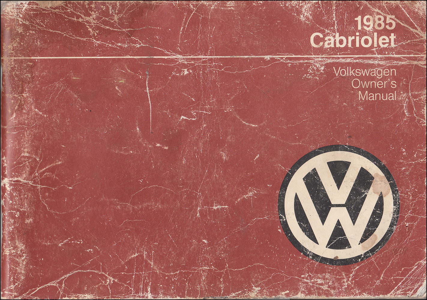 1985 Volkswagen Cabriolet Owner's Manual Original