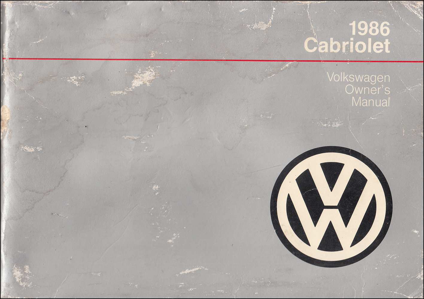 1986 Volkswagen Cabriolet Owner's Manual Original