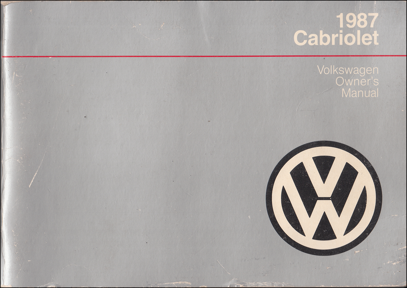 1987 Volkswagen Cabriolet Owner's Manual Original
