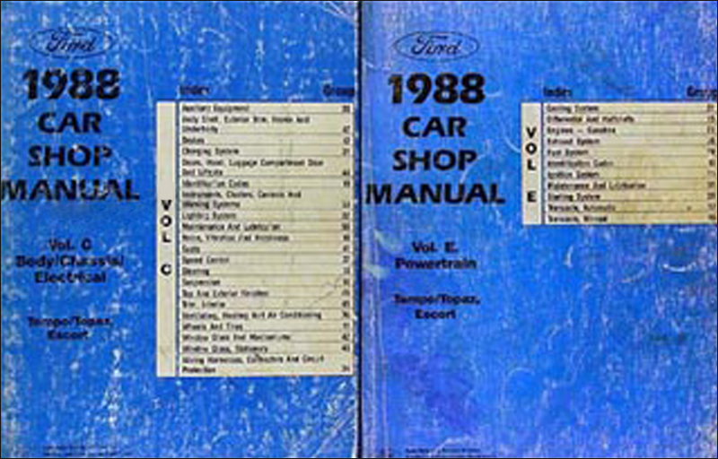 1988 Tempo, Escort & Topaz Repair Manual Original 2 Volume Set