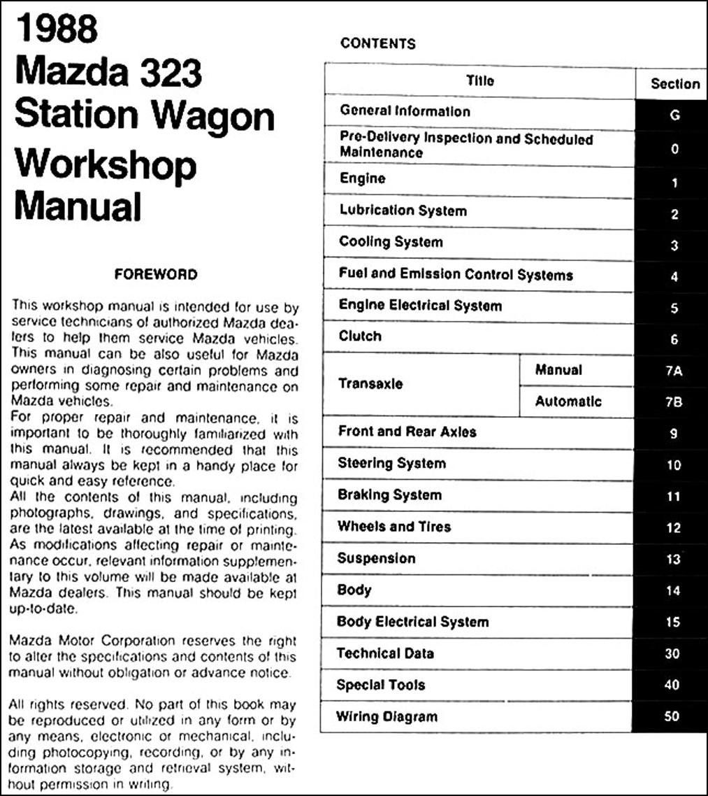 1988 Mazda 323 Station Wagon Repair Manual Original. click on thumbnail to  zoom