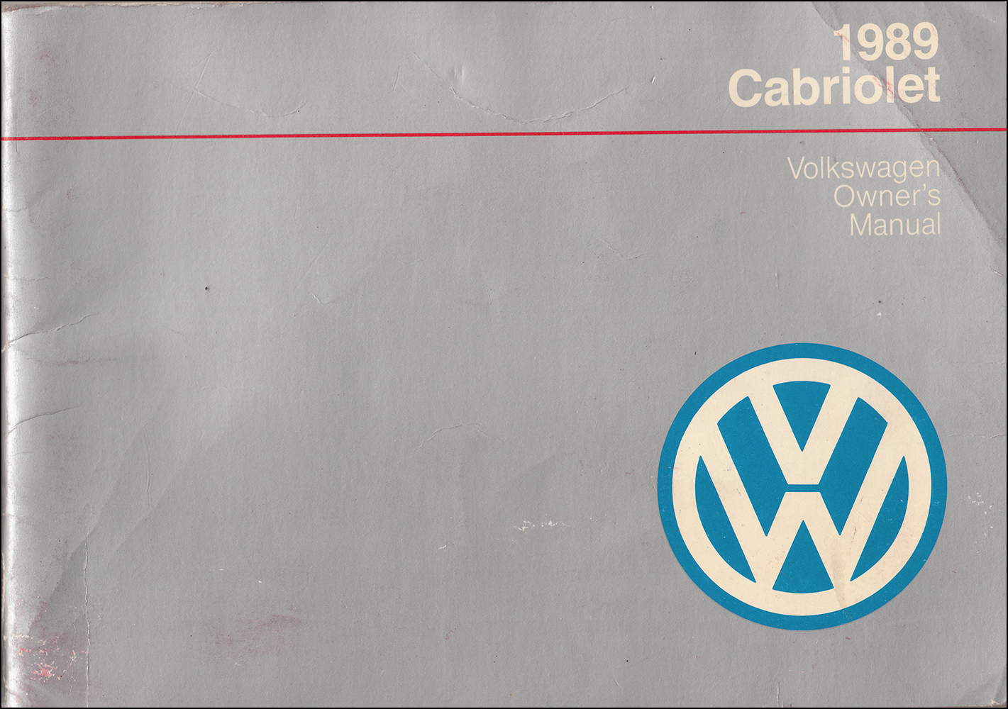 1989 Volkswagen Cabriolet Owner's Manual Original