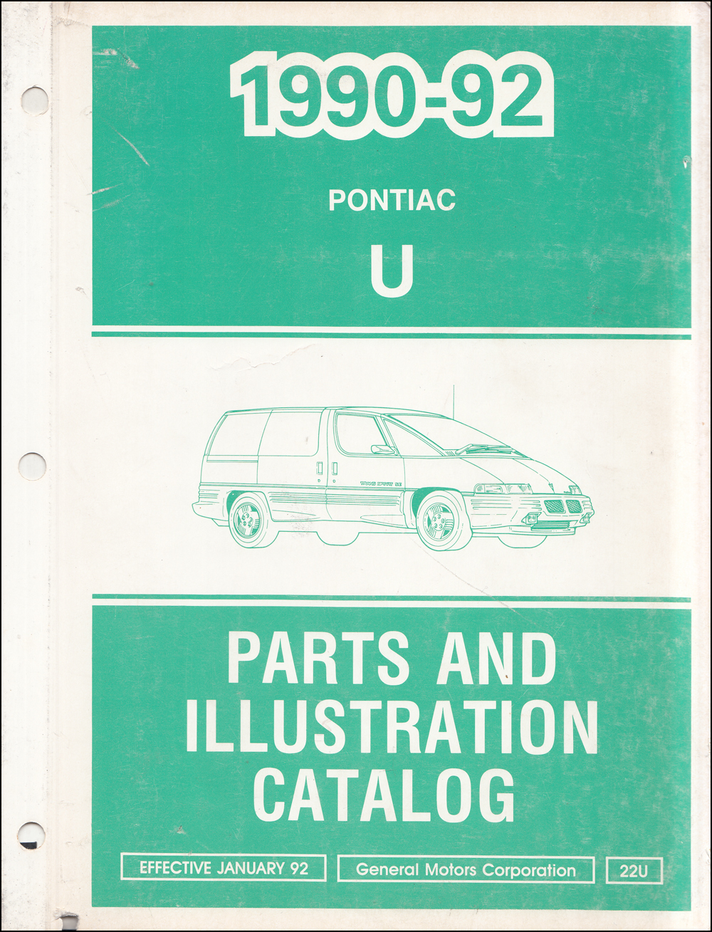 1990-1992 Pontiac Trans Sport Van Parts Book Original