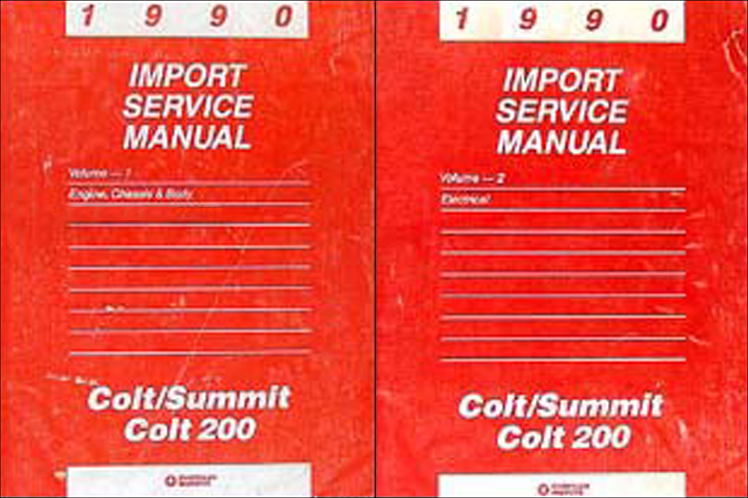 1990 Colt, 200, & Summit Shop Manual Original 2 Volume Set