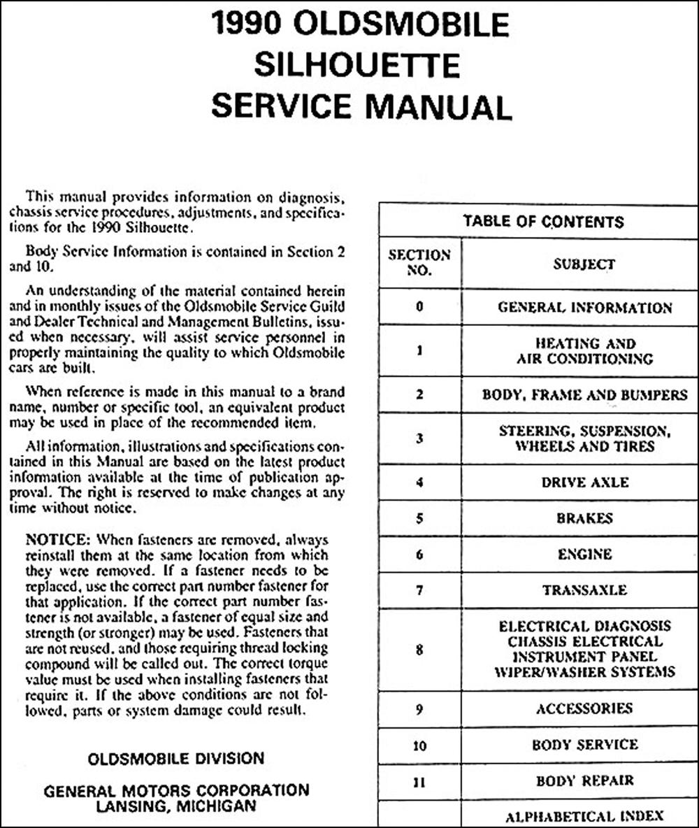 1990 Oldsmobile Silhouette Van Repair Shop Manual Original Wiring Diagram Click On Thumbnail To Zoom
