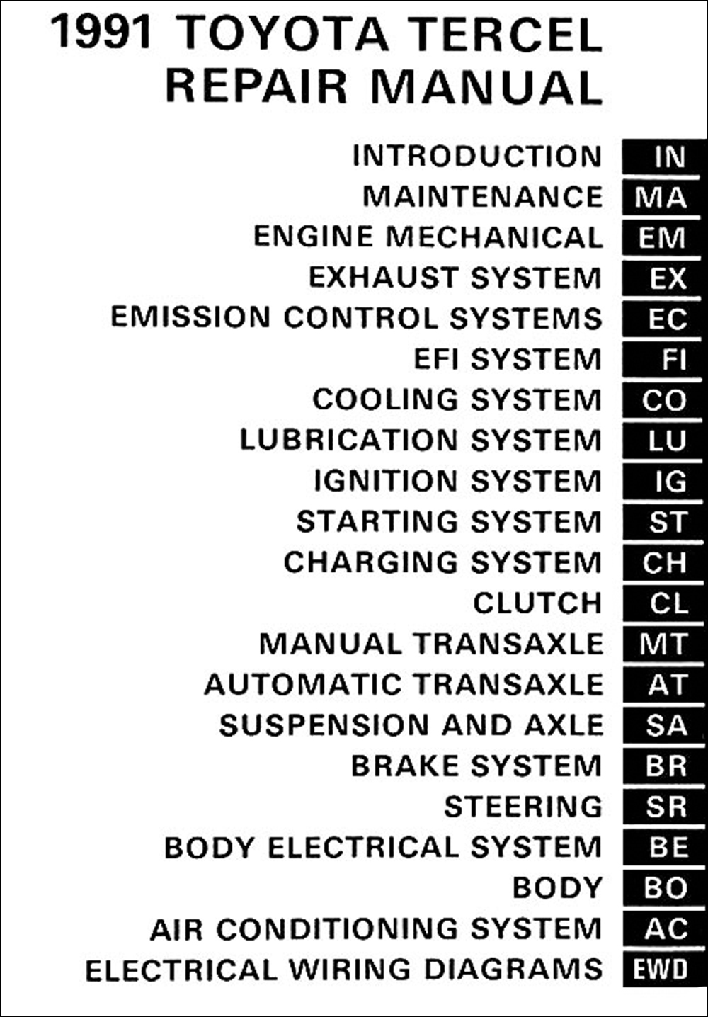 1995 Toyotum Tercel Ignition Wiring Diagram