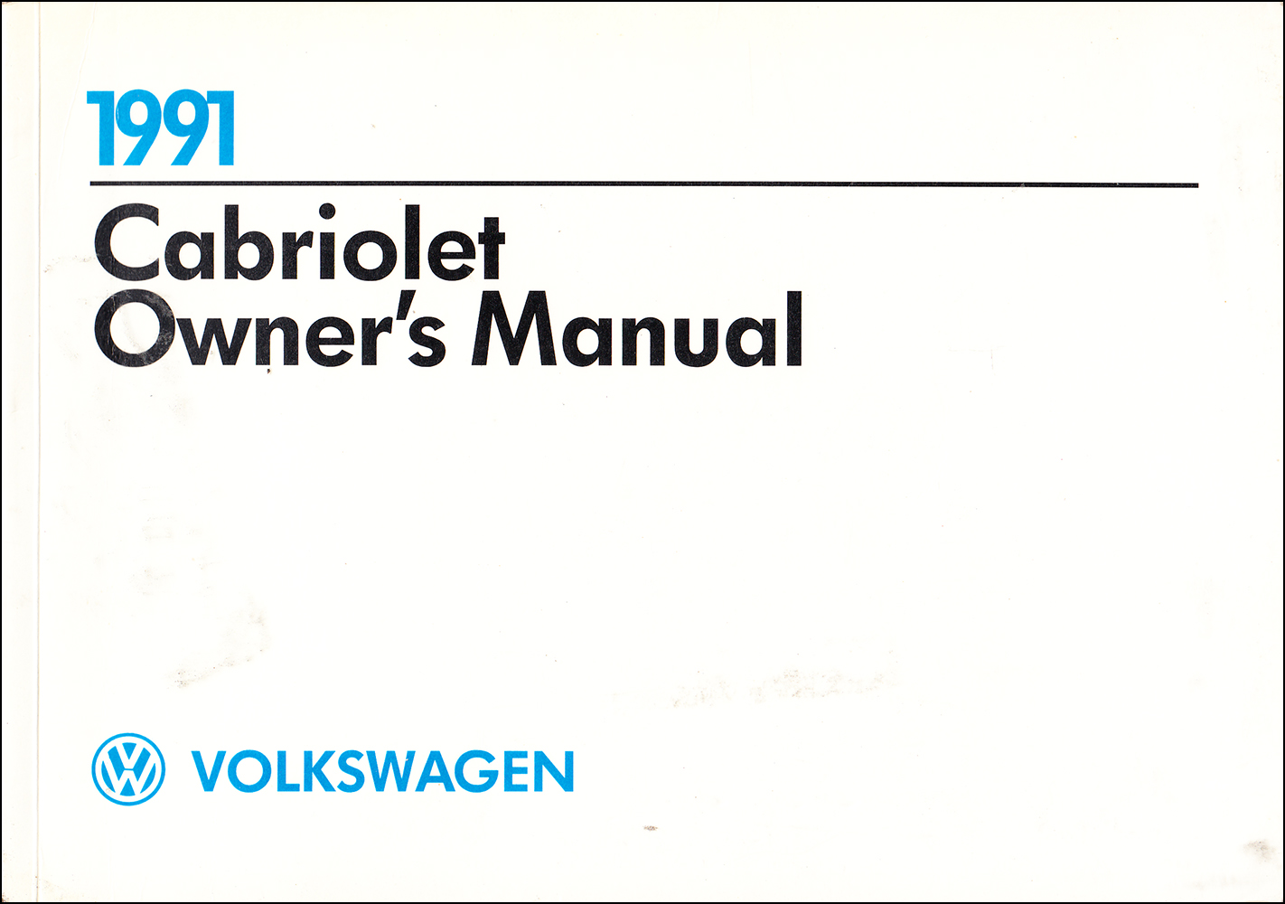 1991 Volkswagen Cabriolet Owner's Manual Original