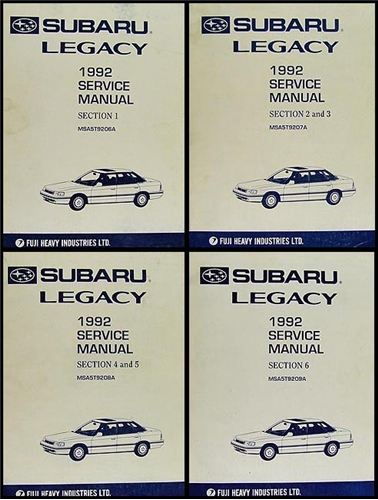 1992 subaru legacy repair manual original 4 volume set
