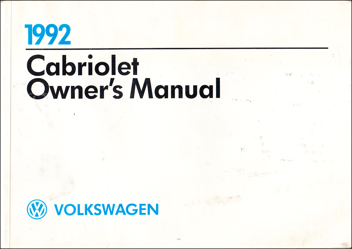 1992 Volkswagen Cabriolet Owner's Manual Original