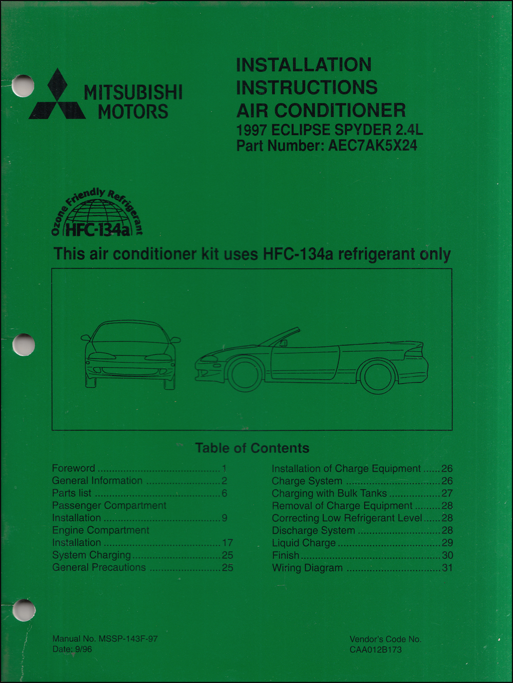 1997 Mitsubishi Eclipse Spyder GS 2.4L Air Conditioner Installation Instruction Manual Original A/C