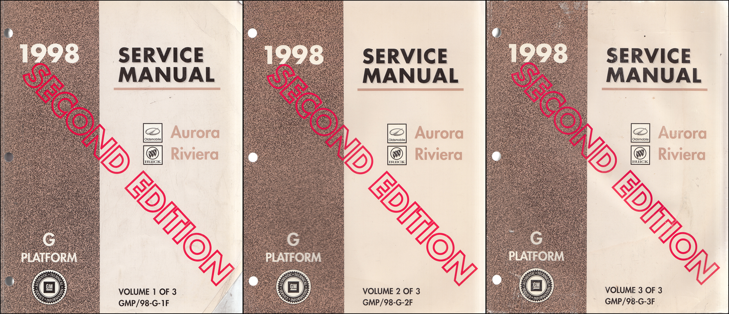 1998 Olds Aurora Buick Riviera Repair Manual Original 3 Volume Set