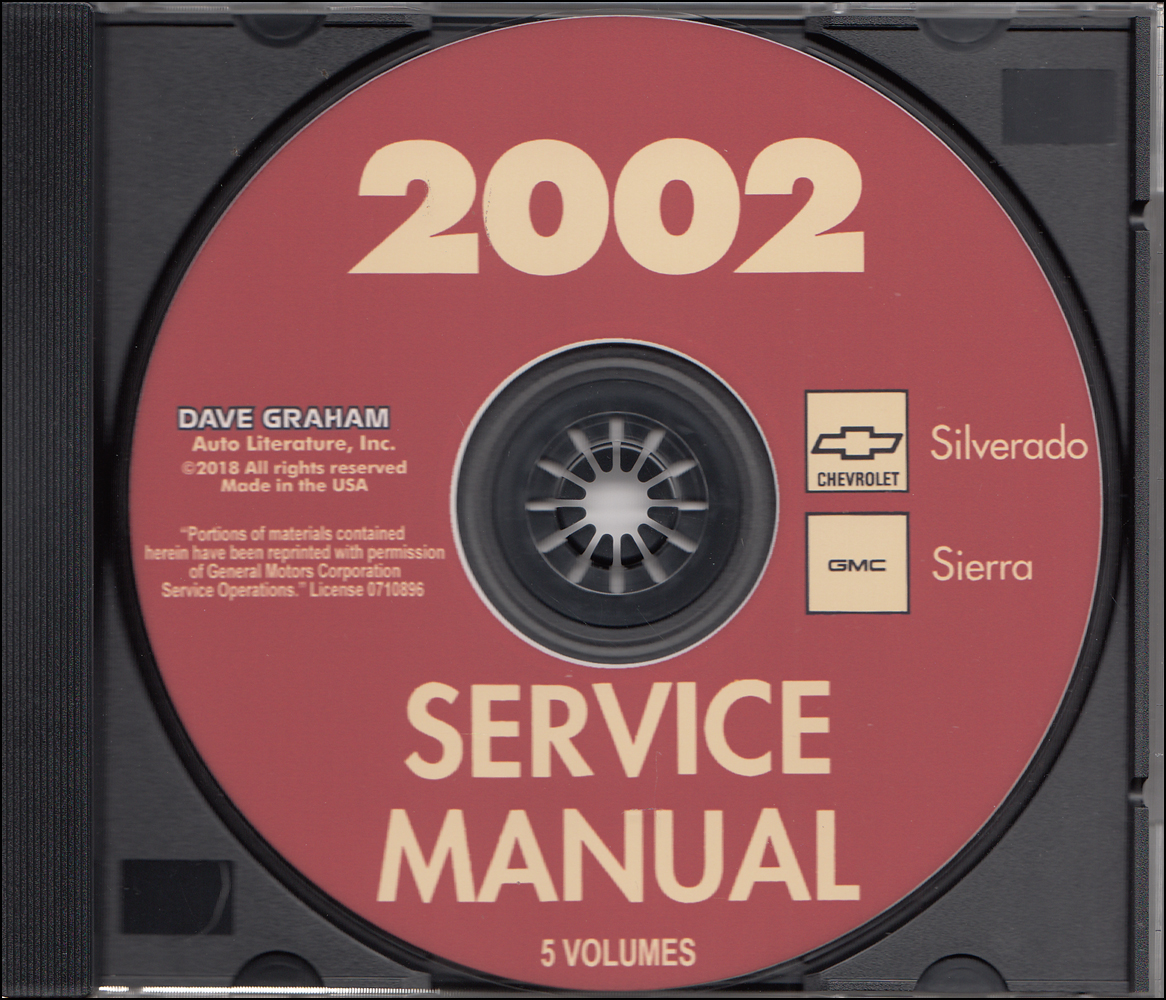 2002 Chevrolet Silverado & GMC Sierra Repair Shop Manual 5 Volumes on CD-ROM Original