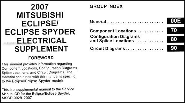 2007 Mitsubishi Eclipse  U0026 Spyder Wiring Diagram Manual Original