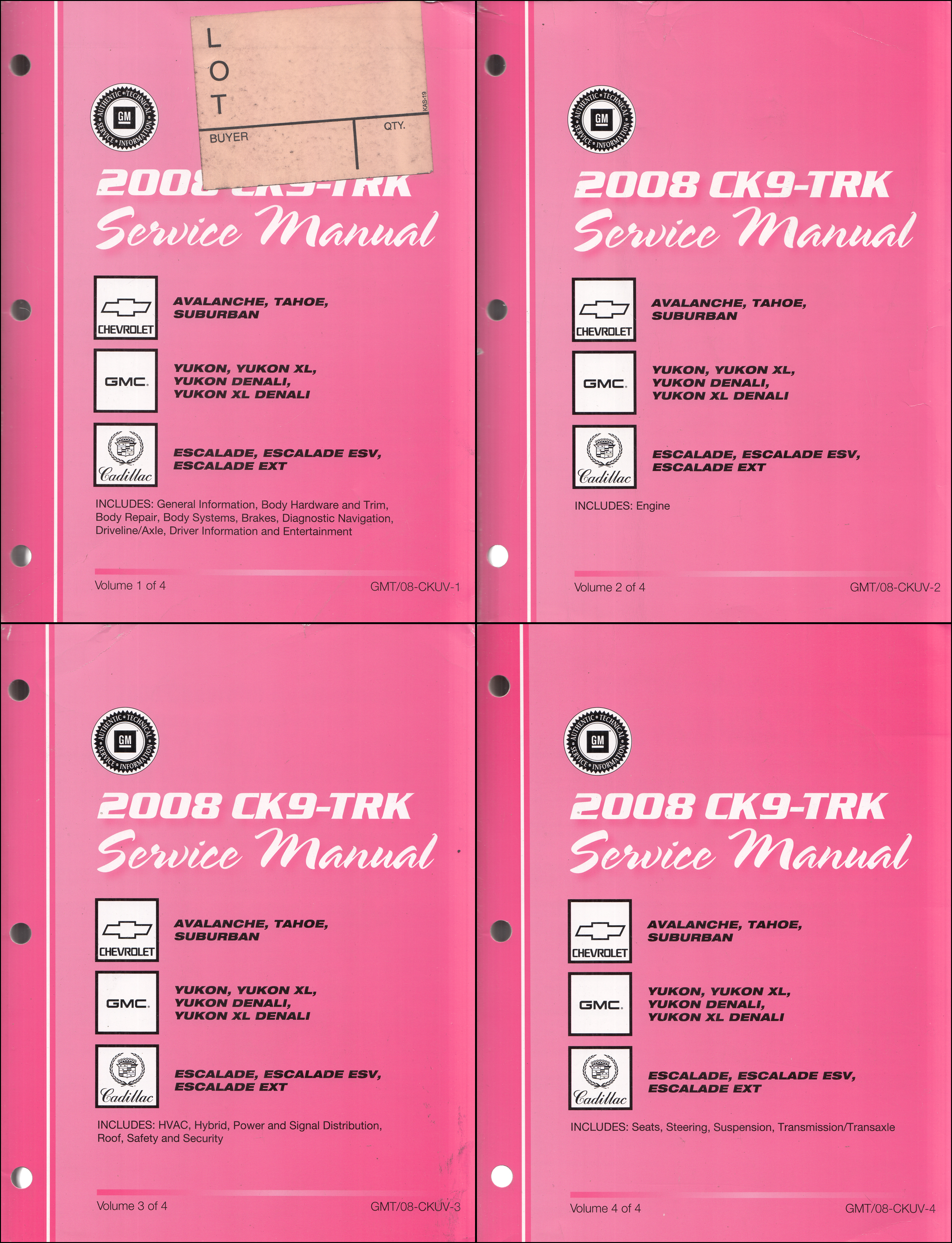 2008 GM CK9 SUV Repair Shop Manual Set Suburban Tahoe Yukon Escalade Avalanche