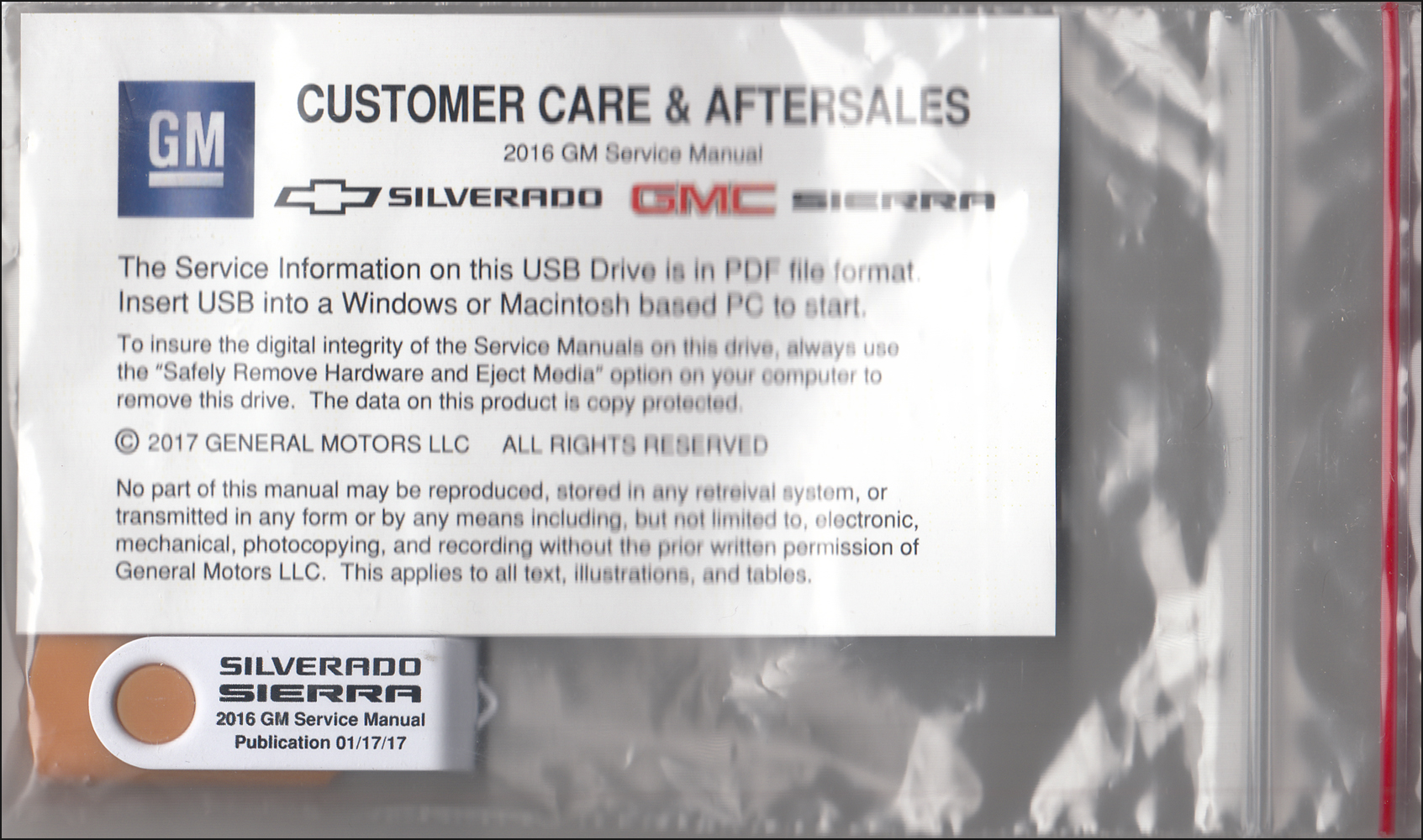 2016 Chevrolet Silverado GMC Sierra Repair Shop Manual on USB drive Chevy