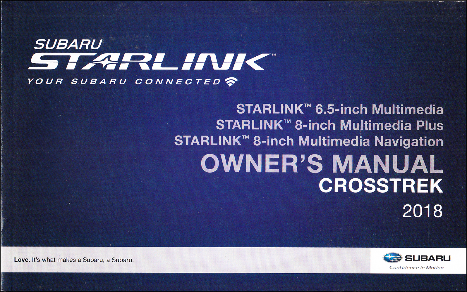 2018 Subaru Crosstrek Starlink Navigation & Multimedia System Owner's Manual Original