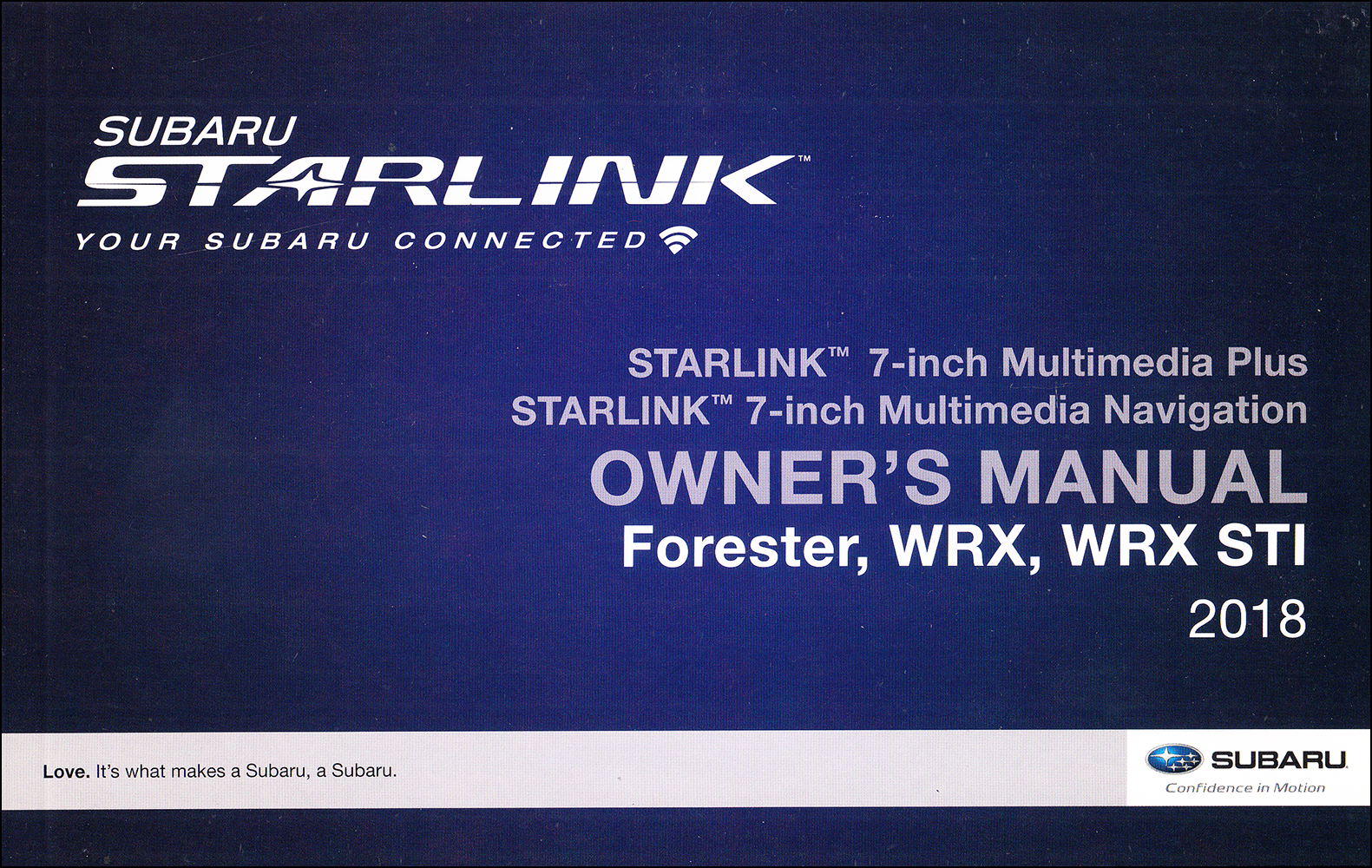 2018 Subaru Forester, WRX, WRX STI  Starlink Navigation & Multimedia System Owner's Manual Original
