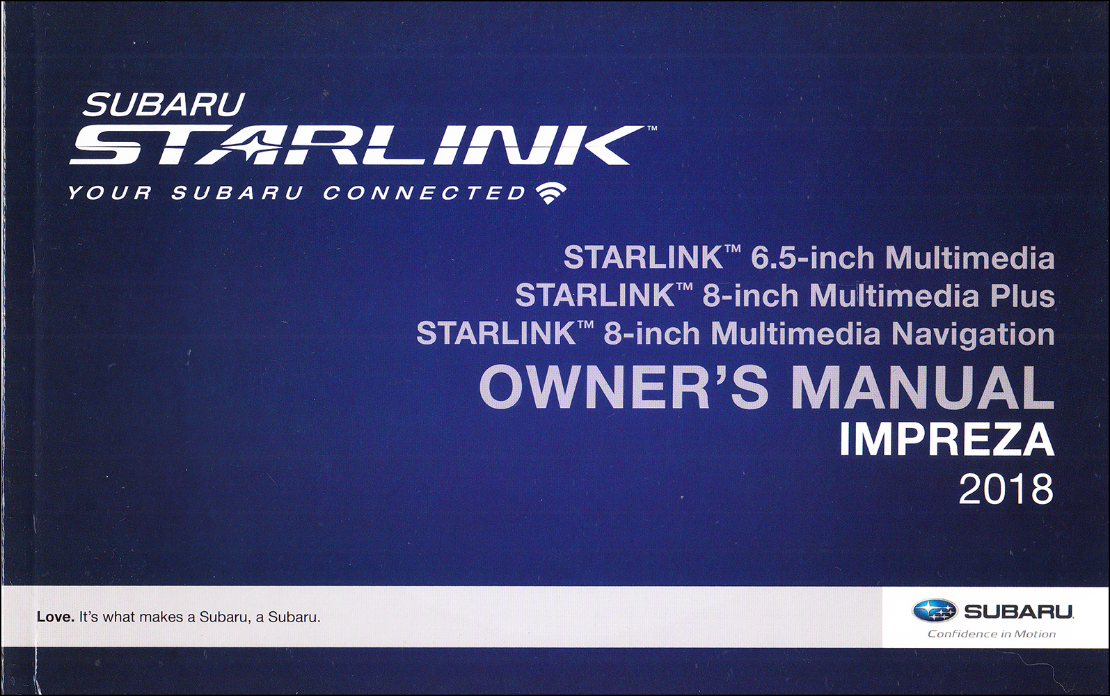 2018 Subaru Impreza Starlink Navigation & Multimedia System Owner's Manual Original