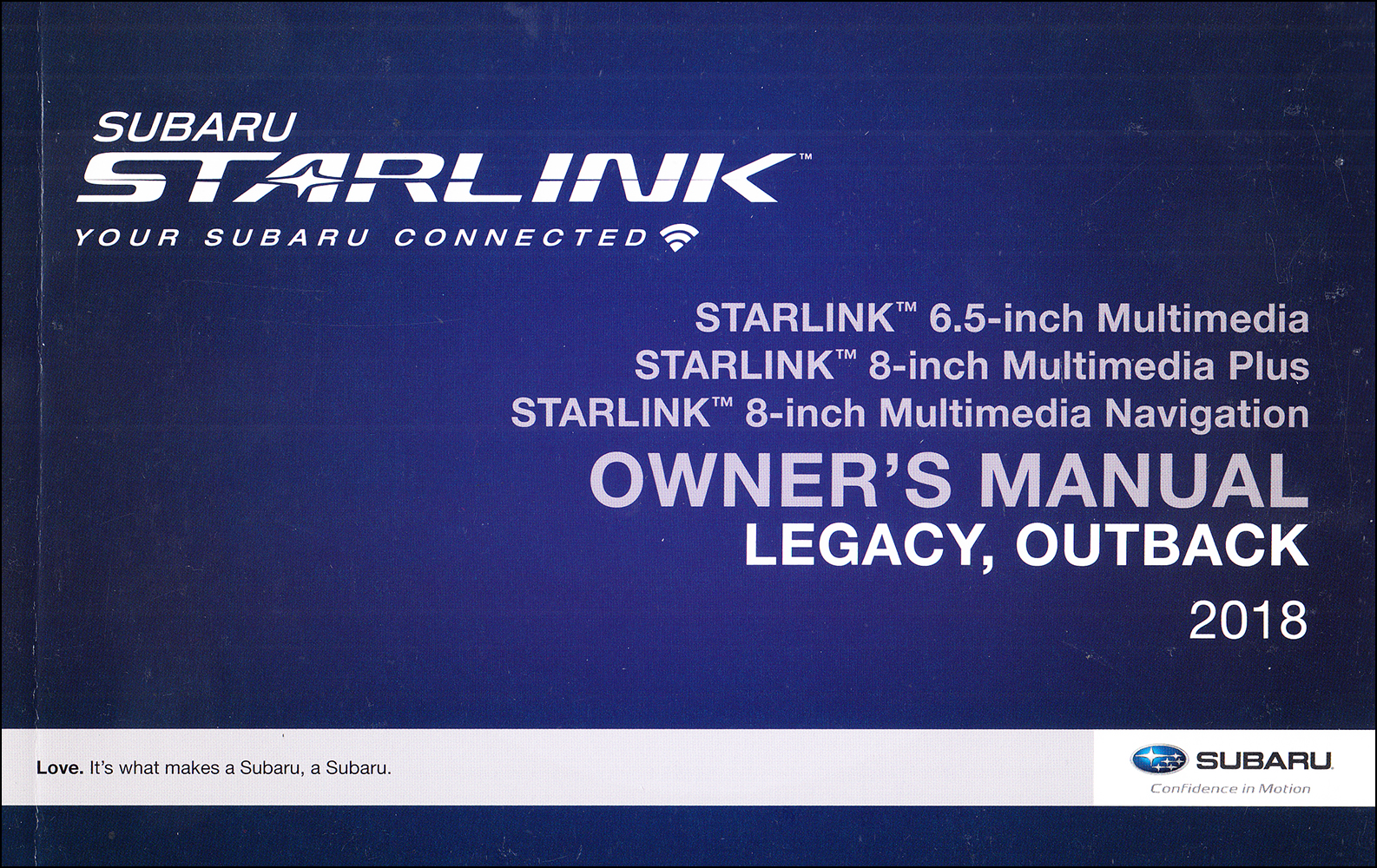 2018 Subaru Legacy / Outback Starlink Navigation & Multimedia System Owner's Manual Original