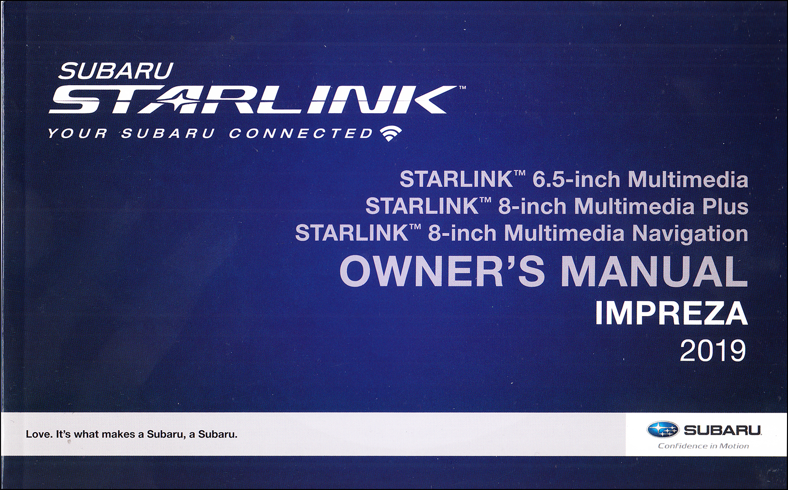 2019 Subaru Impreza Starlink Navigation & Multimedia System Owner's Manual Original