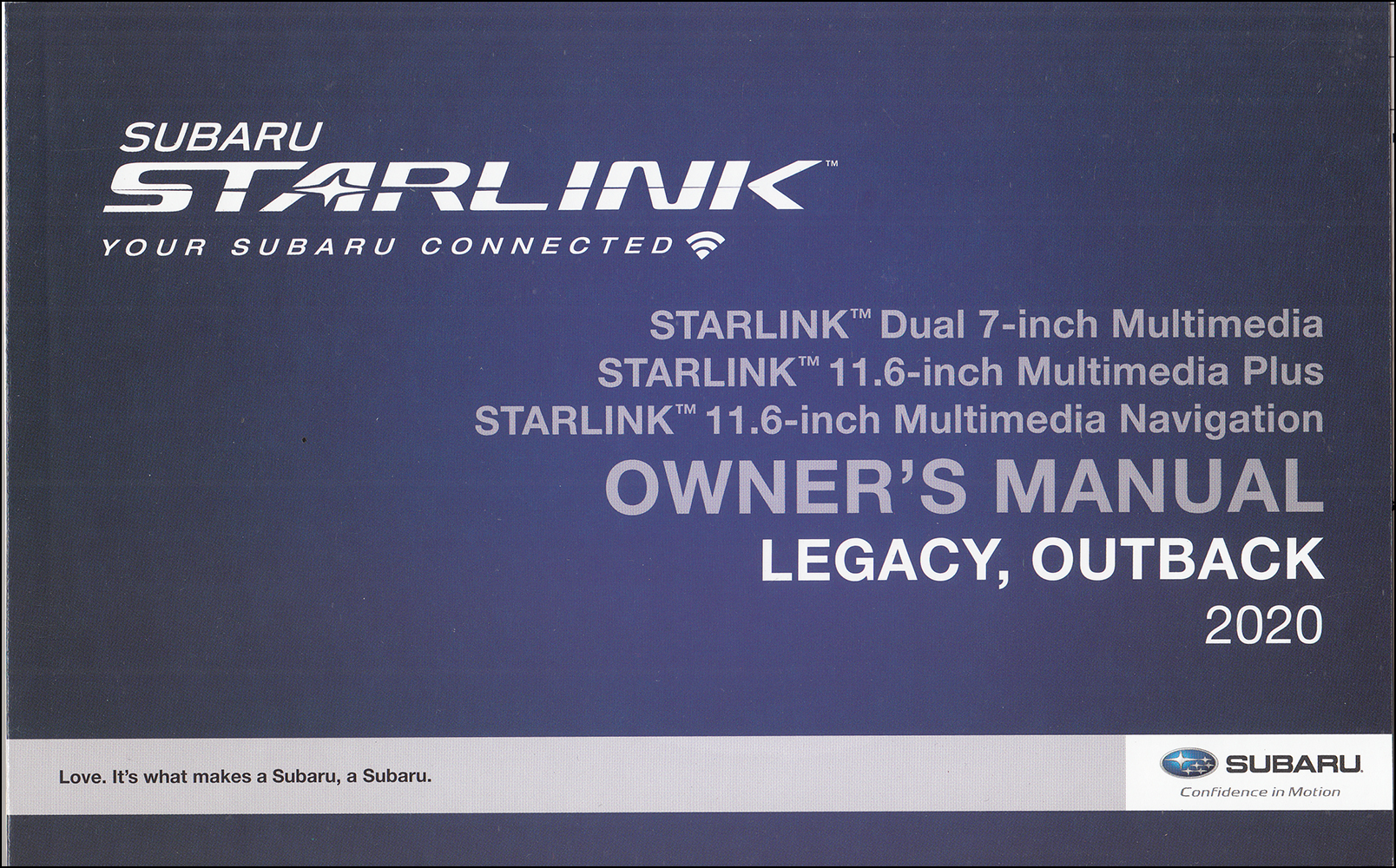 2020 Subaru Legacy / Outback Starlink Navigation & Multimedia System Owner's Manual Original