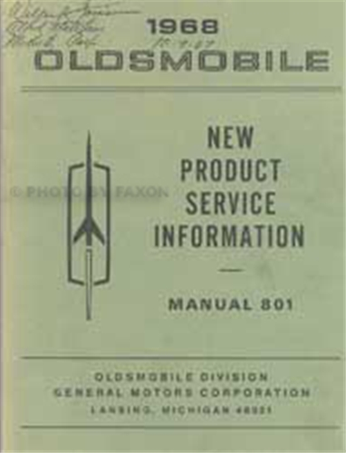 1968 Oldsmobile New Product Service Information Manual