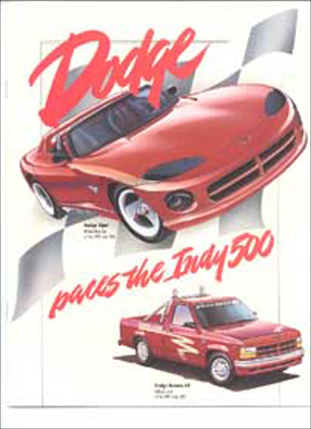 1991 Indy 500 Dodge Viper Stealth Dakota Dealer Only Brochure Original