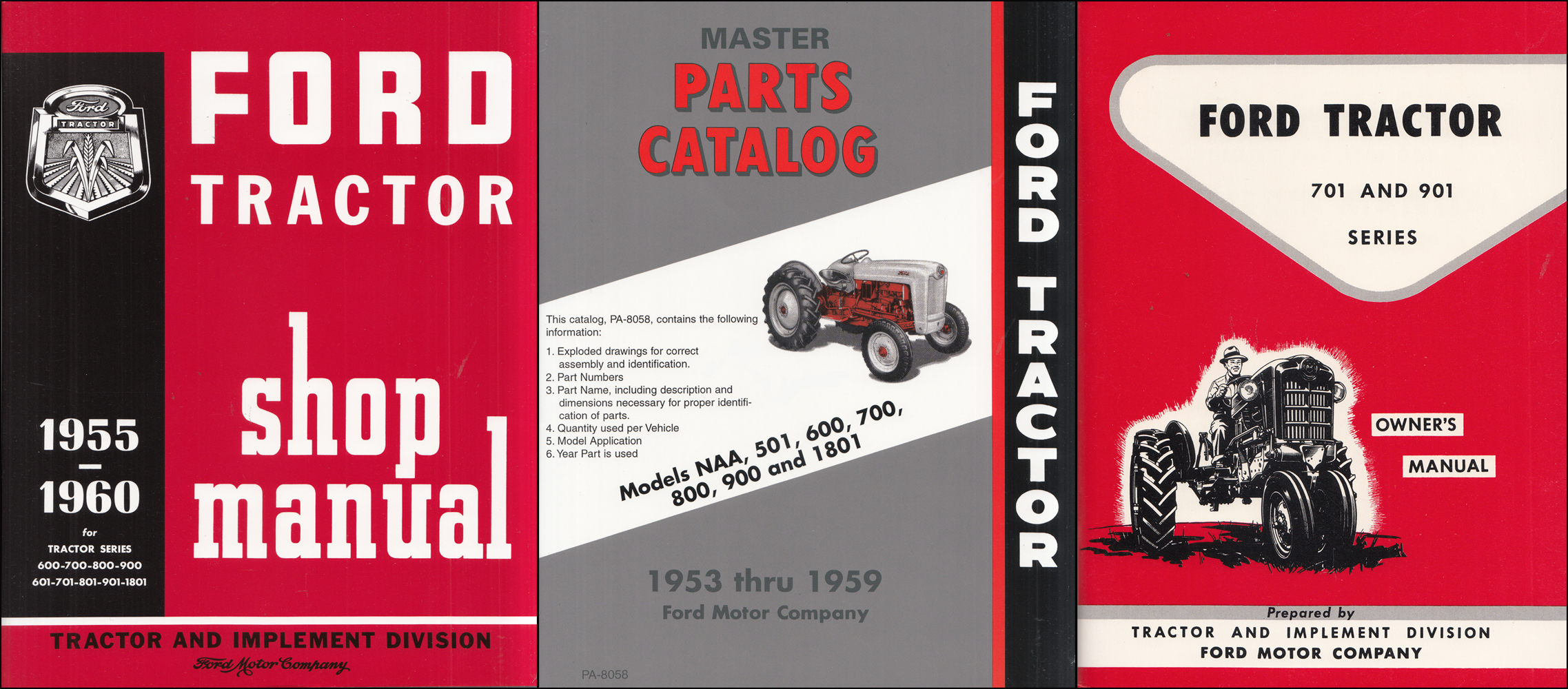 1957-1960 Ford 701 901 Tractor 3 Manual Set 741 771 941 971 981