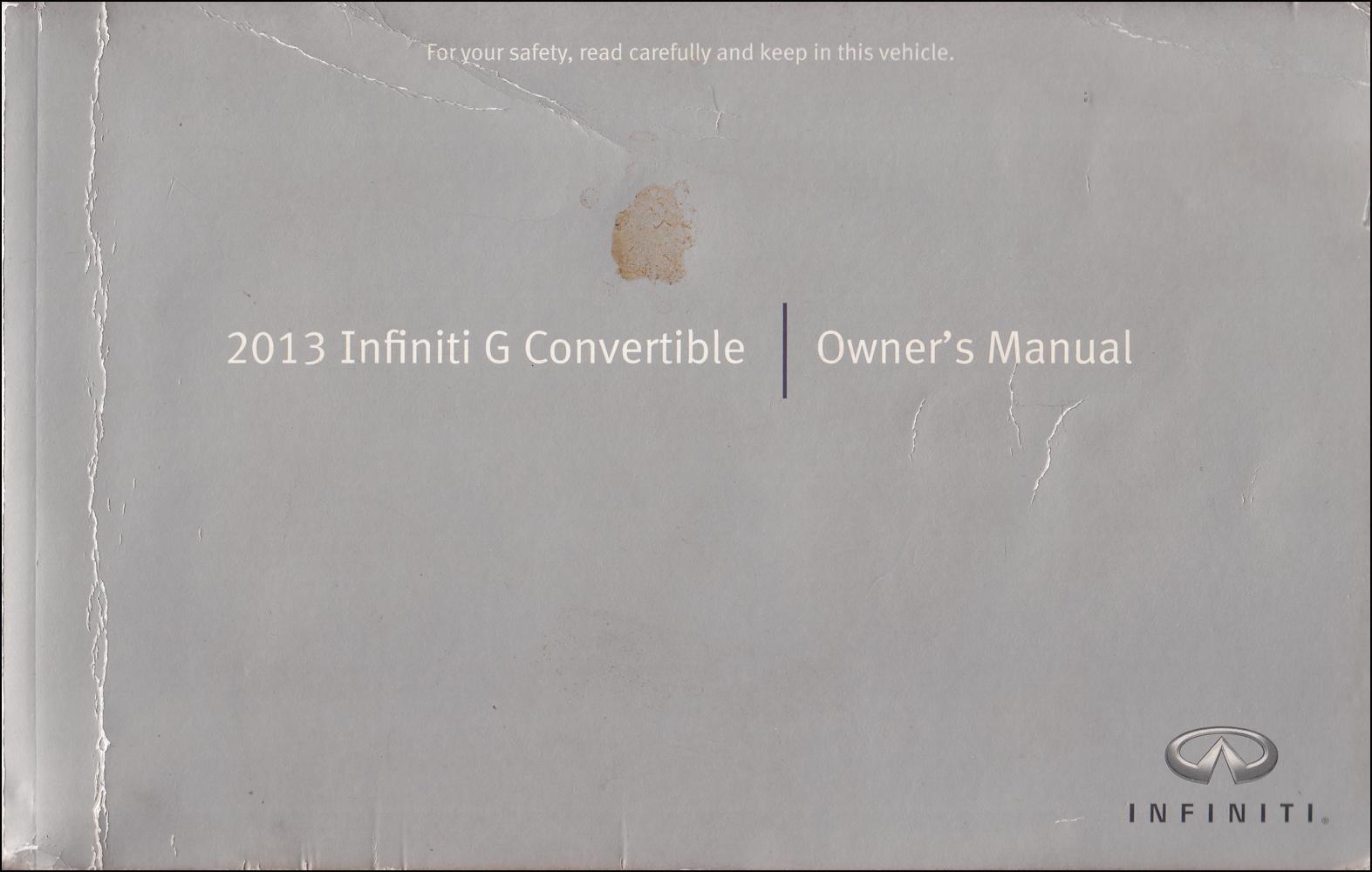 2013 Infiniti G Convertible Owner's Manual Original