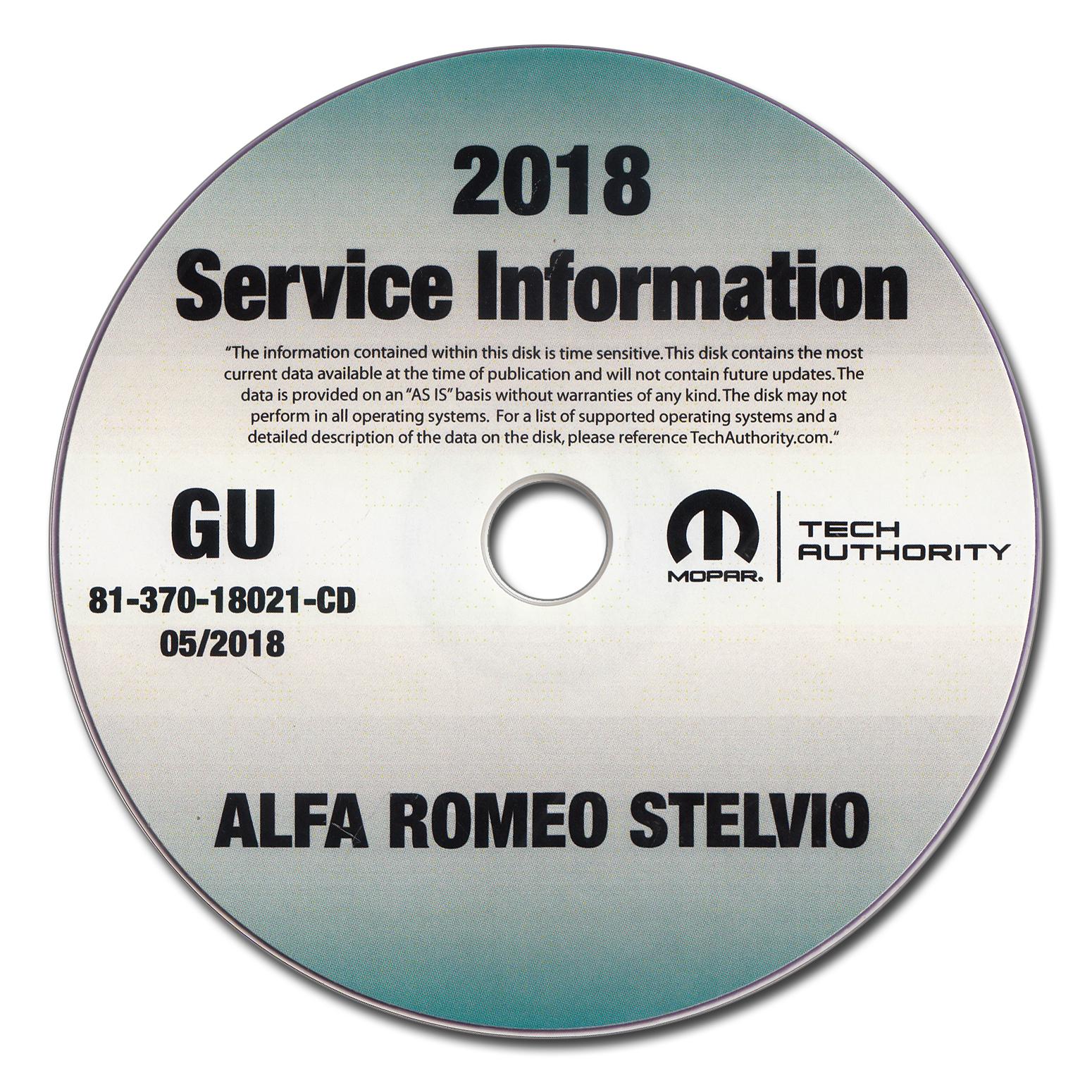2018 Alfa Romeo Stelvio Repair Shop Manual CD-ROM