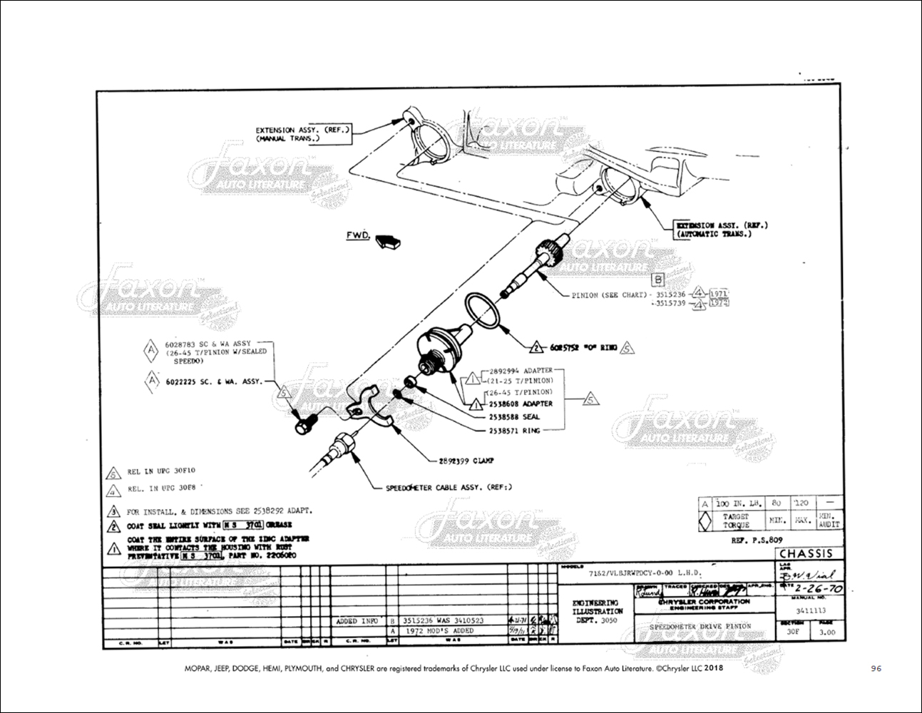 1971 Challenger & Barracuda Chassis Assembly Manual